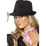 Smiffys Déguisement Femme, Chapeau feutre de gangster sexy, fines rayures roses, Taille unique, Couleur: Noir, 34520
