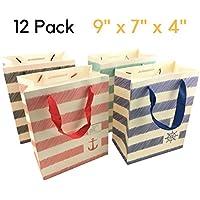 Bolsas de Regalo de Papel - bolso de papel de las compras de la Navidad de 12 PC, bolsos del regalo del cumpleaños del partido [23 x 18 x 10 cms]