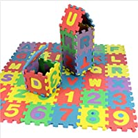 Yuanzhou 36Pcs Colourful Jigsaw Puzzle Alphabet A-Z Letters Mini Size Numeral Foam Mat for Kids Baby Educational Teaching Toy, Size: 17.8 * 13.5 * 1.7cm, Set