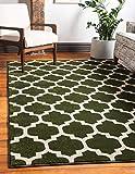Unique Moderne geometrische-Gitter Zeitgenössische Bereich Teppich, dunkelgrün, 2 x 3