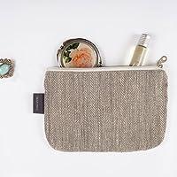 Kleine Graue Schminktasche - Doppellagige 100% Leinen - Kleine Leinwand Reißverschlusstasche - Lippenstift Tasche - Kupplung Geldbeutel - Federmäppchen | Handgefertigte durch ThingStore