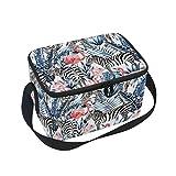 DOSHINE Animal Zebra Flamingo Flower Leaves Lunch Box Bag, Insulated Cooler Ice Lunch Tote Bag Reusable for Men Women Adult Kids Boys Girls
