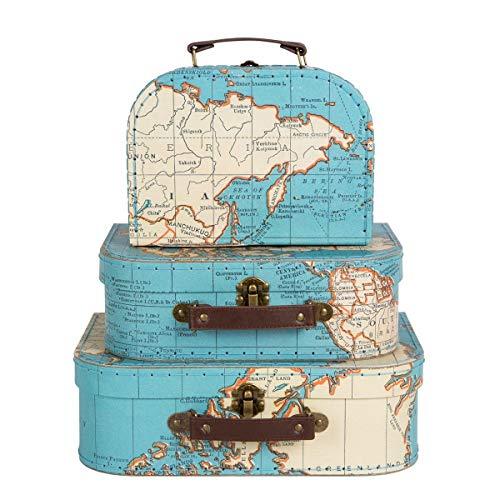 Sass & belle, set di 3valigie/scatole, fantasia mappamondo