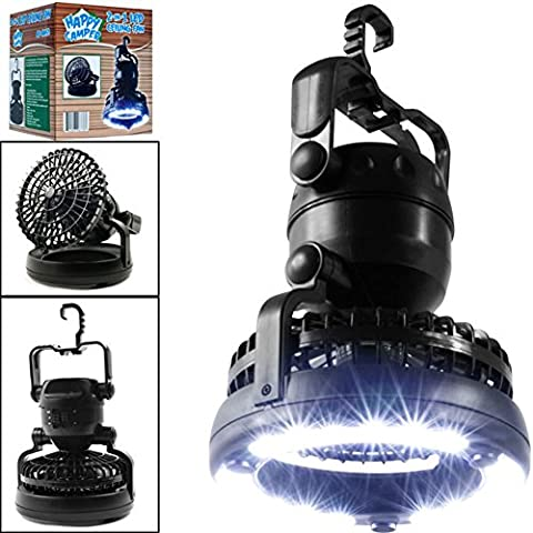 Ventilateur lampe 2en 1portable 18LED Lanterne de camping avec ventilateur de plafond pour le camping (batterie non inclus)