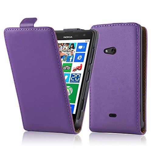 Cadorabo Hülle für Nokia Lumia 625 Hülle in Handyhülle aus Glattem Kunstleder im Flip Design Case Cover Schutzhülle Etui Tasche Flieder Violett