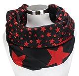 PiriModa XXL Damen Sterne Schal Leichter Schlauchschal Viele Farben (Schwarz/Rot)