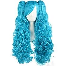 MapofBeauty 70cm/28 pulgada largo rizo seorita rizo Lolita Pelucas (azul celeste)