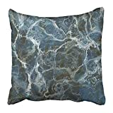 Fuyushang Throw Pillow Covers Cases Decorative 18 x 18 Inch Black Granite Detailed Blue Marble Stone White Natural Slate Rock Closeup Macro Two Sides Print Pillowcase Case Cushion Cover