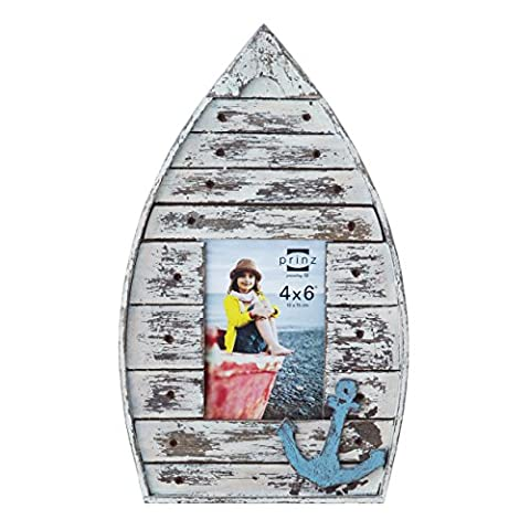 Prinz Boat Shaped Wood Frame in Distressed White Finish with Blue Anchor Attachment, 4 by 6-Inch