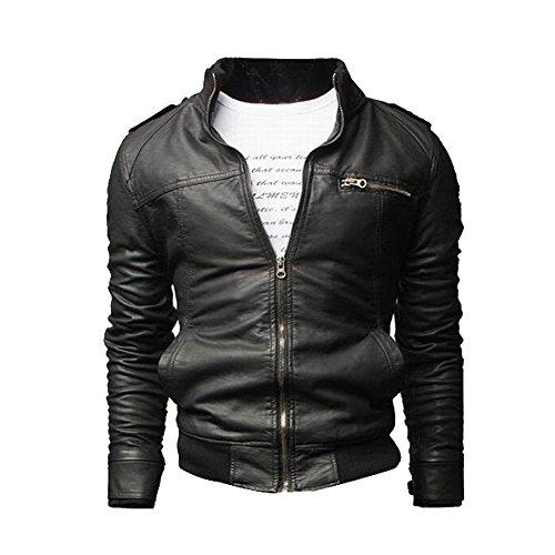 Chaqueta Cuero de la PU Para Hombre, Bolsillos Abrigo Outerwear Con Cremallera Negro M