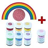 yagma Lebensmittelfarben im Spar-Set 6 x 28 g - Regenbogenmix plus BONUS: Pink (incl. Glimmerzucker in wunderschön leuchtender Farbe)