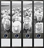 4er Set Ordnerrücken für breite Ordner Schaf Schafe Aufkleber Etiketten Deko 049