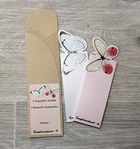2 segnalibri farfalla 3D rosa e bianco, 2 butterfly bookmarks 3D pink & white