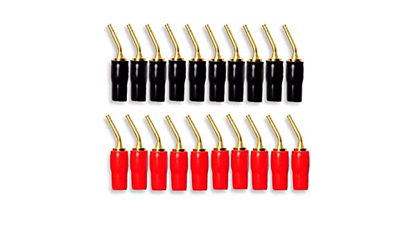 BQLZR 2mm Red /& Black Gold-Plated Copper Banana Plugs Speaker Audio Wire Cable Connector Pin Plugs Pack of 10