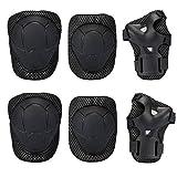 Bambini Kit protezione - Sport Protective Gear per Ginocchia gomiti Polsiere Protettivo Set Per Kids Skateboard / Bmx / Scooter / Bicicletta / Pattini in linea (Nero)