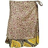 Mogul Interior Boho Beach Wrap Skirts Printed Two Layer Reversible Silk Sari Mini Skirts