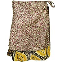 Mogul Interior Boho Beach Wrap Skirts Printed Two Layer Reversible Silk Sari Mini Skirts