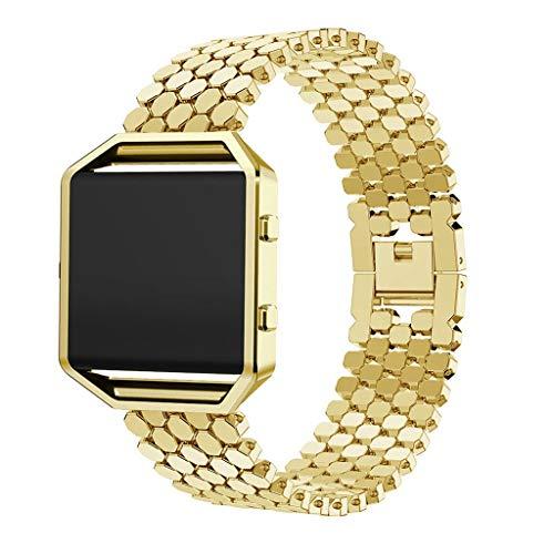 Waotier für Fitbit Blaze Armband Metall Uhrenarmbänder mit Schnellverschluss Uhrarmband für Fitbit Blaze Armband mit Gehäuse Schutzhülle Smartwatch Ersatzarmbänder Elegante Armband (Gold)