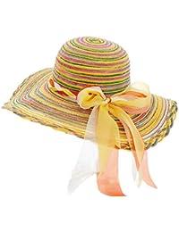 f78d10d3533 Monbedos Beach Outdoor Straw Weaving rainbow sun hat Large Brimmed Sun Hat  Sun Protection Cap Foldable