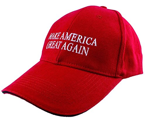 "Cappellino con citazione di Donald Trump ""Make America Great Again"" ricamata Red (Sandwich Hat) Taglia unica"