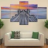 Arte de la pared Lienzo Cuadro Marco Cuadros Modulares 5 Unidades Puente Muelle Costa Mar Puesta de Sol Pintura Para la Sala de estar Decoración para el hogar ilustraciones
