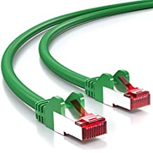 deleyCON PREMIUM 15m CAT6 cavo patch Gigabit LAN DSL cavo di rete - Schermatura S/FTP - collegamenti dorati - RJ45 presa - verde