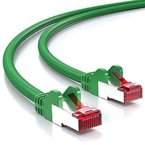deleyCON PREMIUM 2m CAT 6 cavo patch Gigabit LAN DSL cavo di rete - Schermatura S/FTP - collegamenti dorati - RJ45 presa - [verde]