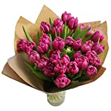 Clare Florist Mother's Day 30 Pink Tulip Bouquet with Vase - Fresh Flowers for Mother's Day