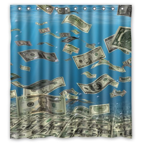 guolinadeou Shower Curtain for Bathroom with Everyone Like Money Cool American Dollars Fall from Sky Waterproof Polyester Fabric Bath Curtain Shower Rings Included 48x72 IN Dollar Fall
