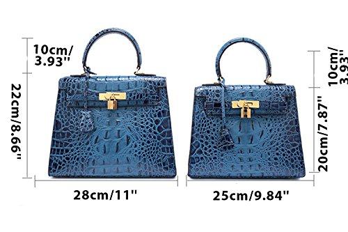 Sheli Damen Handtaschen aus Leder Vintage Umhängetaschen Top Handle Umhängetasche Satchel und Geldbörsen Blau