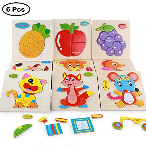 TOUARETAILS Baby Toys Cute Cartoon Animals Wooden 3D Puzzle for Toddlers Child Tangram Shape Puzzle for 1 2 3 Year Old Baby & Girls, Kids Educational Toys (6 Pack)
