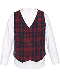 Life by Shoppers Stop Boys Mandarin Neck Solid Shirt with Waistcoat