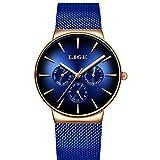 LIGE Hombre Relojes Moda Militar Deportes Impermeable de Acero Inoxidable Malla Hombre Reloj de Negocios Vestido de Cuarzo Analógico Oro Azul Reloj de Pulsera 9936C