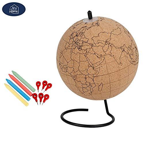 new home Globus aus Kork mit Pins und Kreide Ø15cm Tischglobus Weltkugel Deko Planer