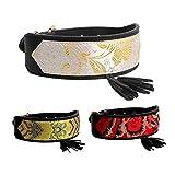 Bbl345dLlo Halsband für Haustiere, verstellbar, chinesischer Stil, Stickerei, Quaste, Kunstleder, für Hunde und Katzen, verstellbar, Größe L, Schwarz/Rot