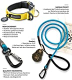Set Shaggy Hunde Halsband und Premium Hundeleine aus Profi-Kletterseil mit Premium Drehverschluss-Karabiner - Hundehalsband neopren gepolstert und reflektierend div. Farben und Größen (Halsumfang M (35-43 cm), Blau - reflektierend)