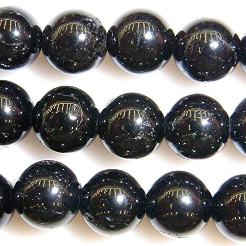 thetastejewelry 4mm redonda perlas de turmalina negro 15pulgadas 38cm joyas haciendo collar pulsera poder de curación