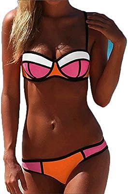 Bikini Neopreno Push Up Mujer (L, Naranja)