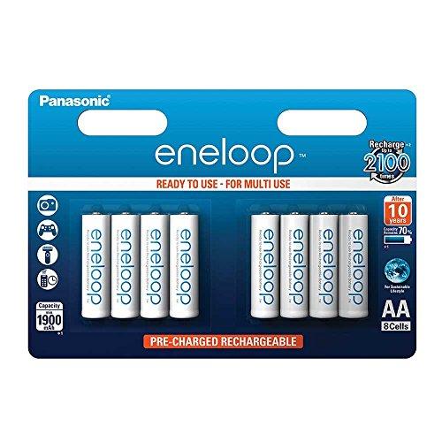 Panasonic eneloop, Ready-to-Use Ni-MH Akku, AA Mignon, 8er Pack, min. 1900 mAh, 2100 Ladezyklen, geringe Selbstentladung (Telefon Mit Service)