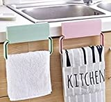 divinext self-adhesive plastic towel rack cabinet Cupboard Door cloth holder Bathroom storage rack Kitchen Accessories - Random Color