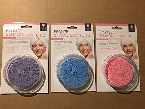 Lot de 6 éponges rondes démaquillantes - démaquille en douceur - Réutilisable et lavable - Economique et écologique - Pour tout type de peau - Existe en 3 couleurs