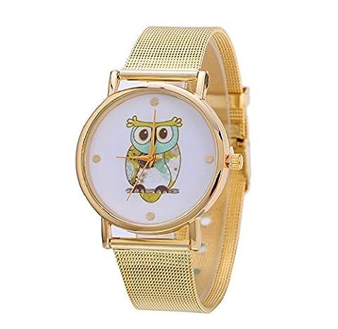 Tongshi Neue Mode Frauen Design Eule Muster Gold Uhren Dial