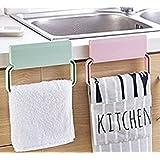 divinext self-adhesive plastic towel rack cabinet Cupboard Door cloth holder Bathroom storage rack Kitchen Accessories - Random Color