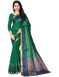 Venisa Women's Cotton Saree With Blouse Piece (Venisa Mayanka 1001, Green, Free Size)