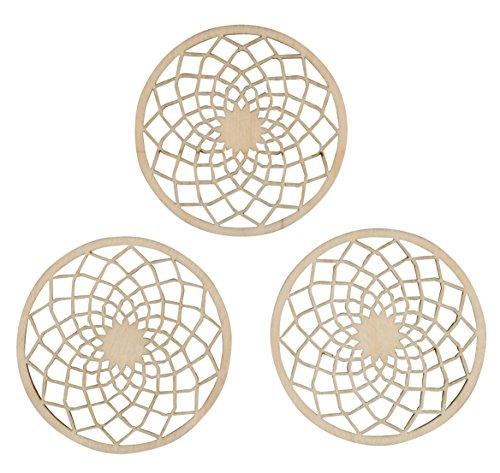 Rayher 62823000 Holz-Scheiben Dream filigran, Btl. 3 Stück, 7 cm ø, gelaserte Holz-Elemente für Traumfänger, Deko-Hänger, Wanddekorationen