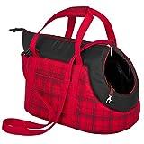 HobbyDog-Sac de Transport pour Chiens et Chats, Taille 1, Rouge/Noir à Rayures