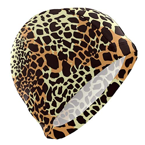 Gebrb Badekappe/Schwimmkappe/Bademütze, Colorful Leopard Camouflage Lycra Swim Cap Swimming for Women Men Lycra Swim Cap