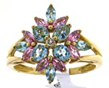 Vintage 9 ct Gold Ladies Diamond Ring Brilliant Cut 0.04 Carat with Apatite, Pink Sapphire