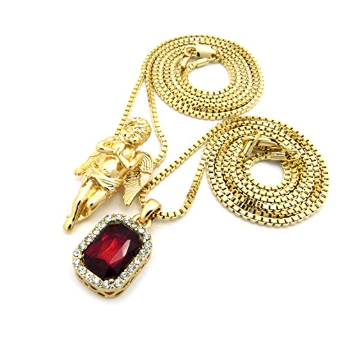 Faux Ruby Stone & Solid Praying Angel Pendant Set 2mm 61cm & 76cm Box Chain Necklace in Gold-Tone