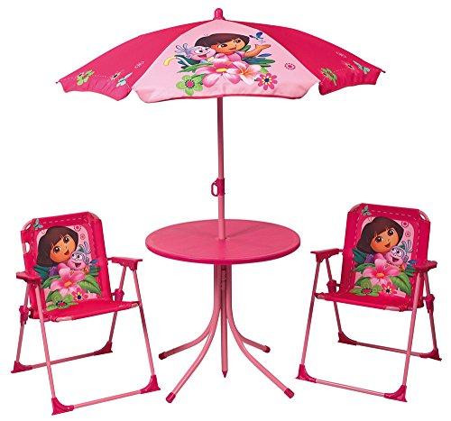 FUN HOUSE Dora Set de Jardin : 1 Table Ronde + 2 chaises + 1 Parasol Taille 37 x 25 x 27, 46 x diamètre 46, 1,25 x diamètre 100 cm